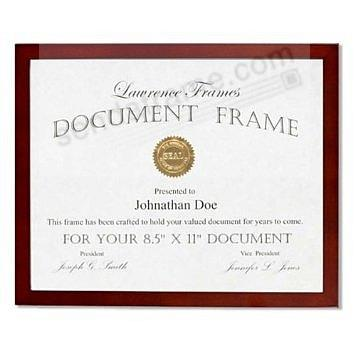 Dark Walnut square-corner certificate size frame by Lawrence®