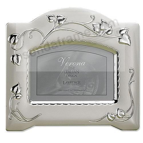 Satin Silver-Plated Picture Frame with Vine Design by Lawrence Frames®