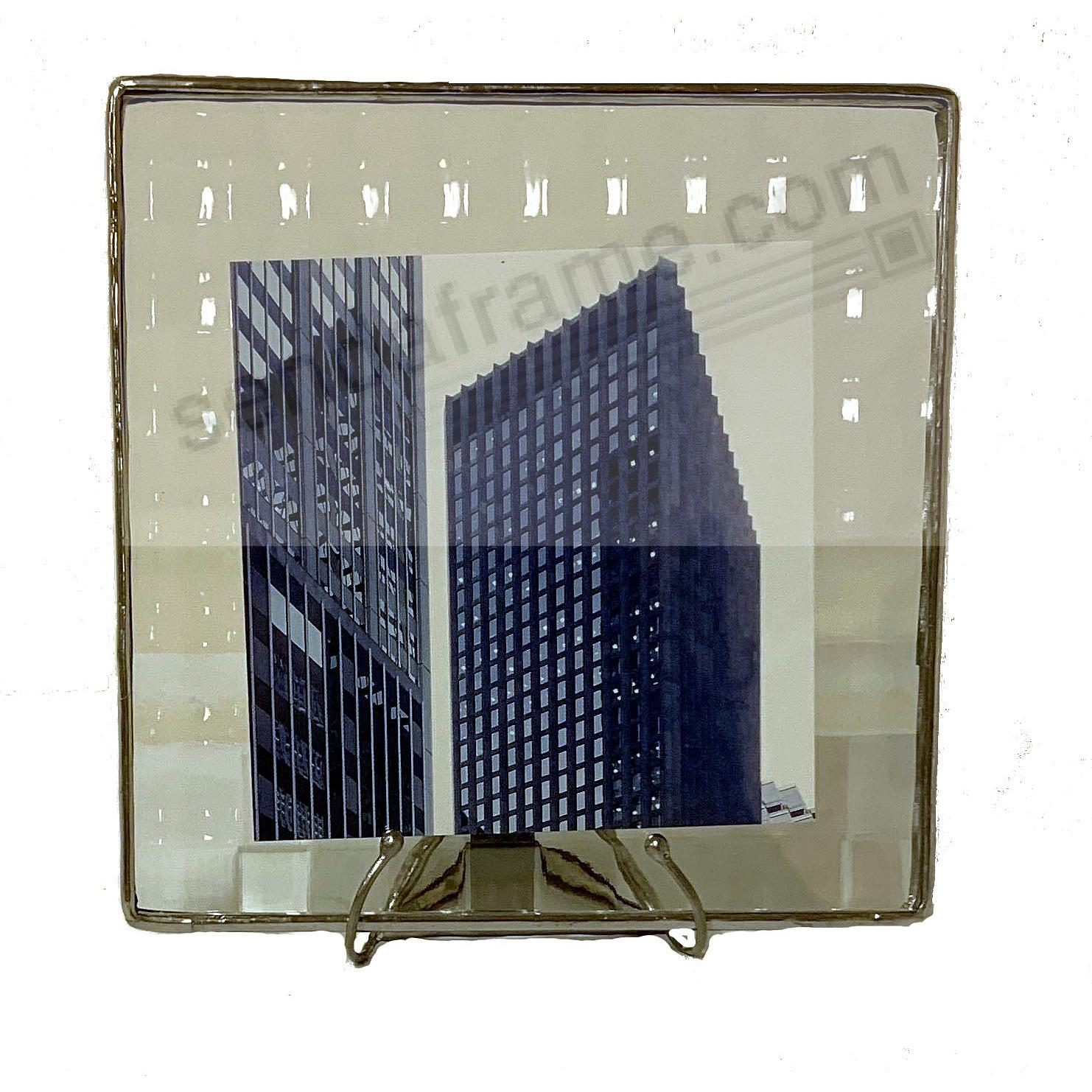 CROSSREED ½-in Pattern Glass Float Frame 5x5/4x4 Silver by Bedford Downing®
