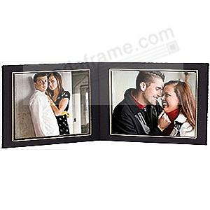 Black Cardstock Double 7x5 Landscape photomount folder w/gold foil border (sold in 10s)