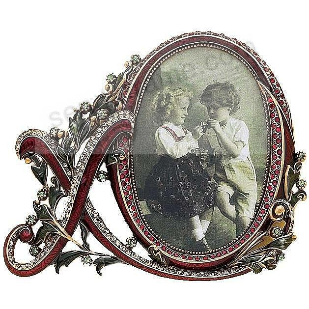 XO LOVE frame with Garnet and Ruby Crystals by Edgar Berebi®