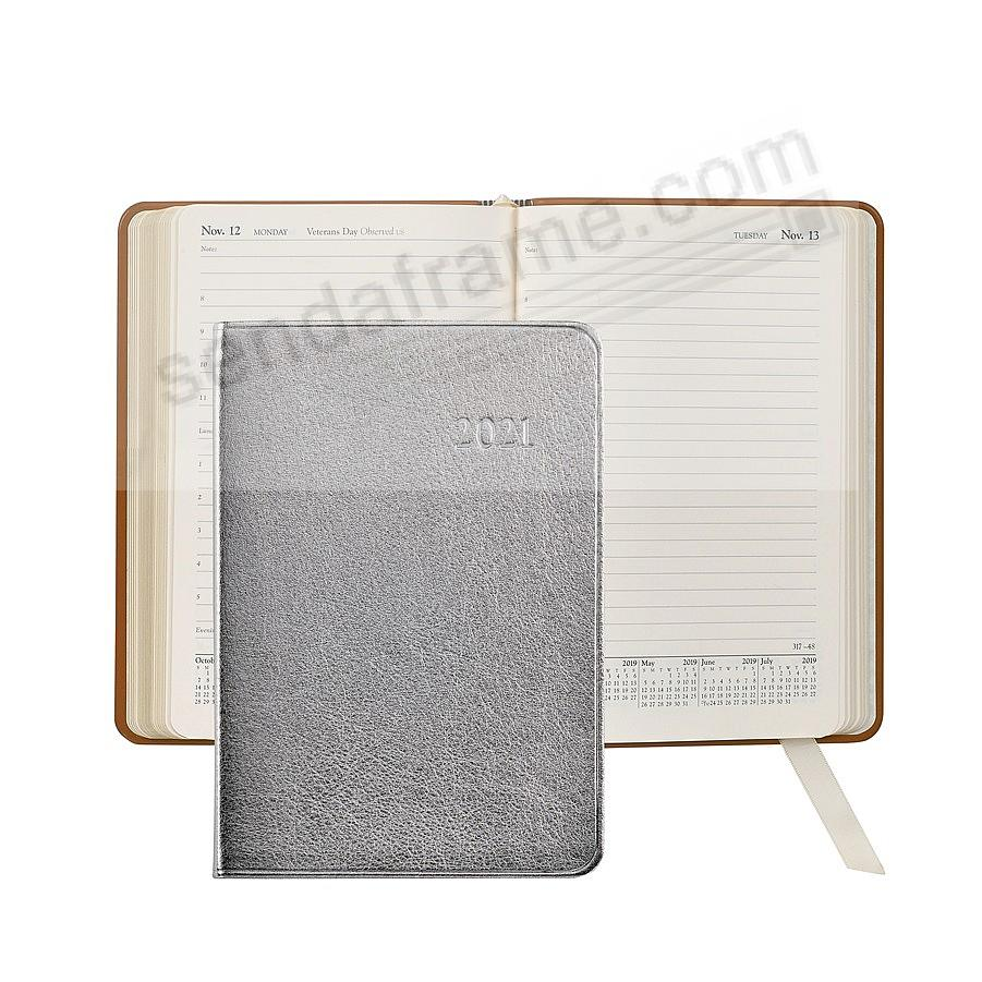 2018 Metallic-Silver Fine Leather 8inch Daily Journal by Graphic Image™