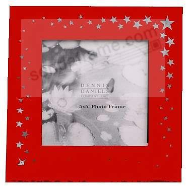 LASER CUT STARS Wooden Red-Stained frame by Dennis Daniels®
