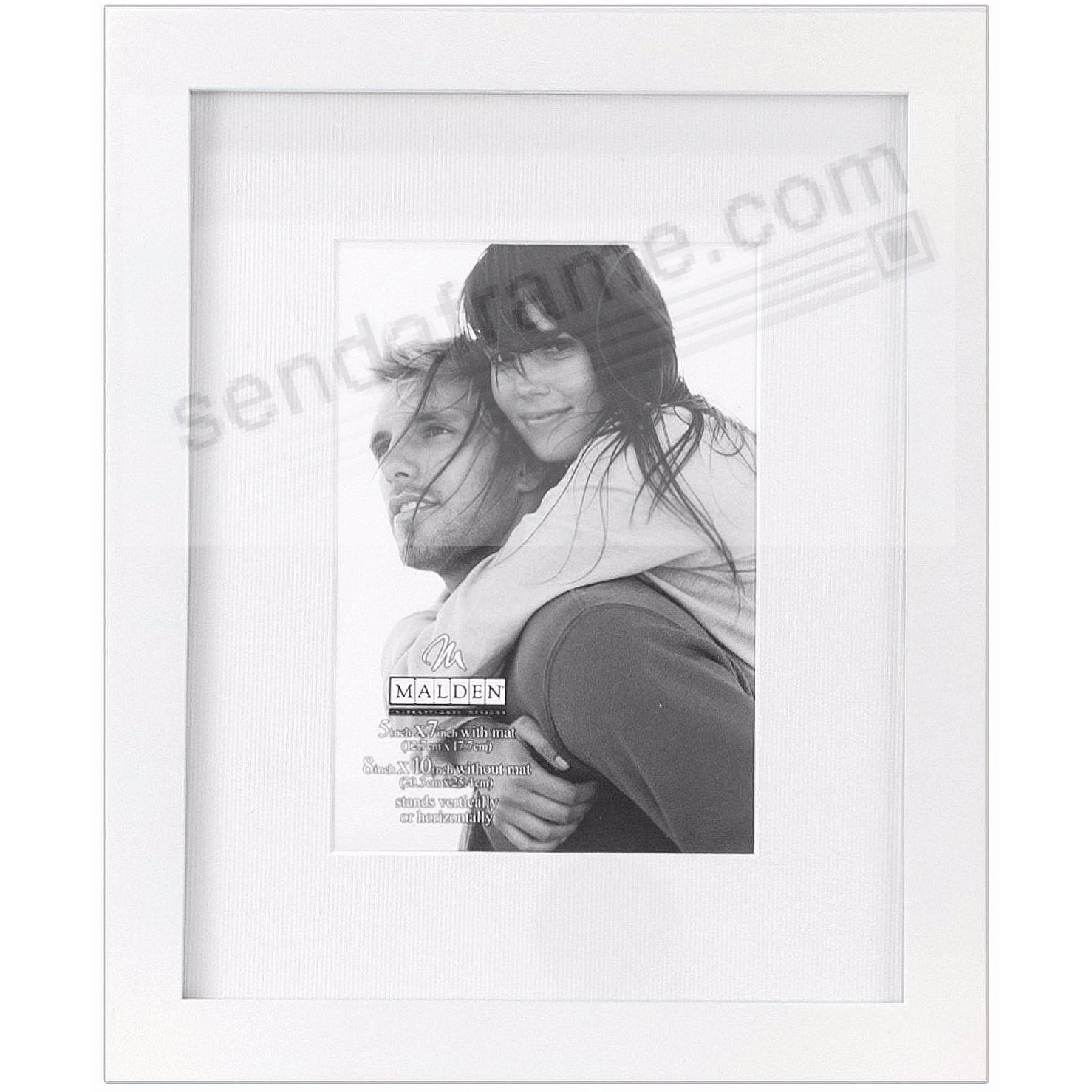 LINEAR WOOD White Frame with 8x10/5x7 coordinated mat by Malden®