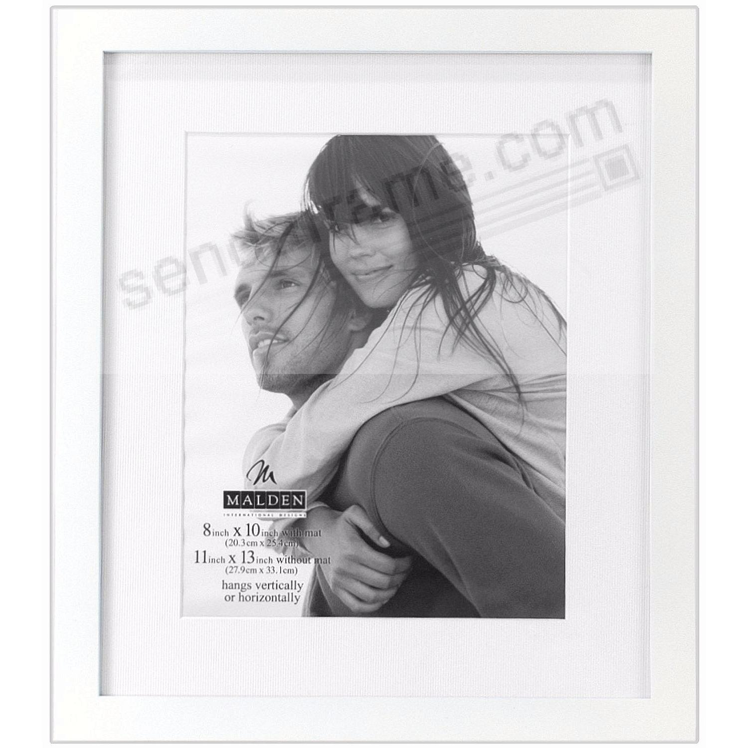 LINEAR WOOD White Frame with 11x13/8x10 coordinated mat by Malden®
