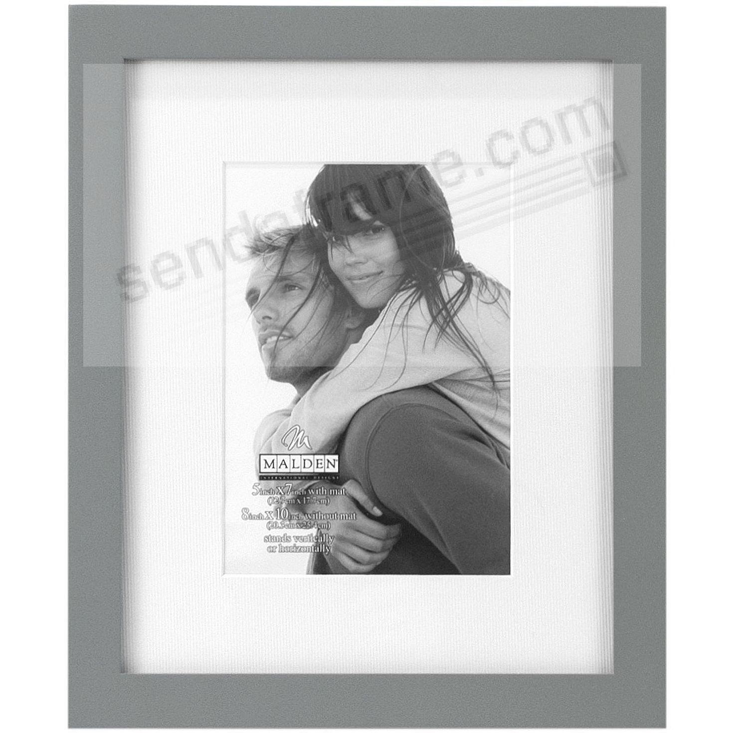 LINEAR WOOD Gray Frame with 11x13/8x10 coordinated mat by Malden®
