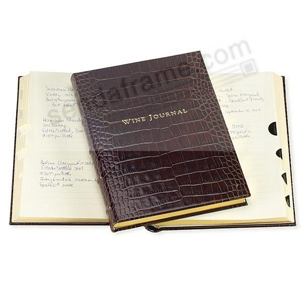 Luxe Tabbed Wine Journal in Croco-Brown Calfskin Leather by Graphic Image™