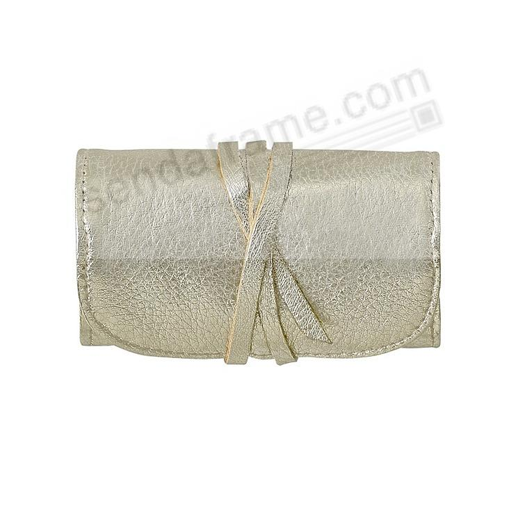 Metallics WHITE GOLD Fine Leather Jewel Roll by Graphic Image™