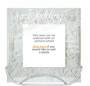 'Our Wedding' frosted glass
