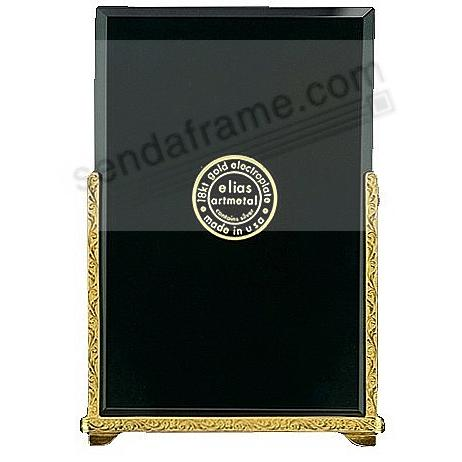 BEVELED GLASS FLORAL ACCENTS 18kt Museum Gold Vermeil 8x10 frame by Elias Artmetal®