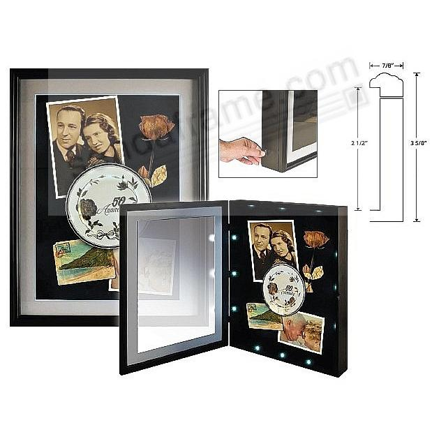 ILLUMINATED LED SQUARE DISPLAY CASE 14x14/11x11 Black/White Mat by Nielsen®