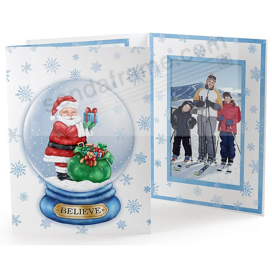 SANTA GLOBE Printed Holiday Event Photo 5x7 Cardstock Folder
