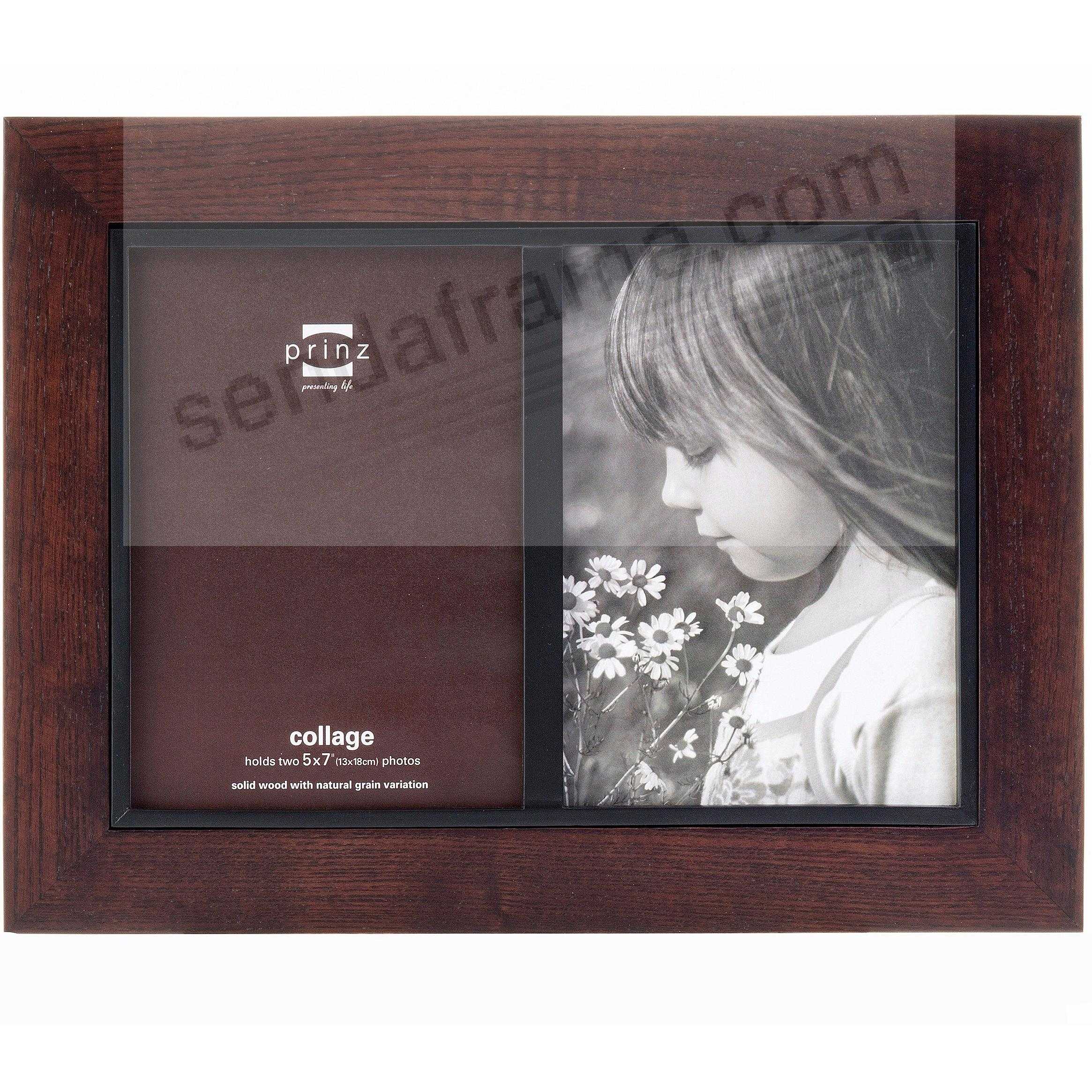 Adler walnut stained wood double 5x7 frame by prinz for Engraved digital photo frame