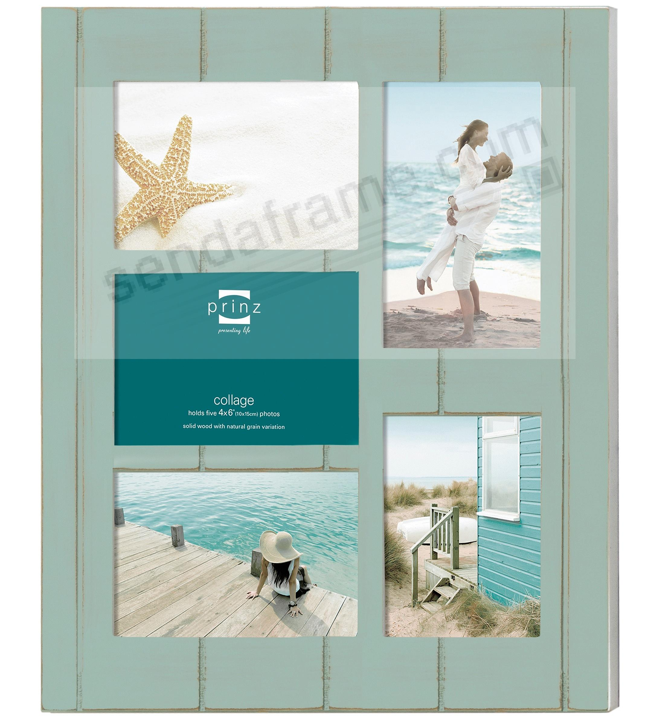 seaside aquamarine stain wood 54x6 collage frame by prinz