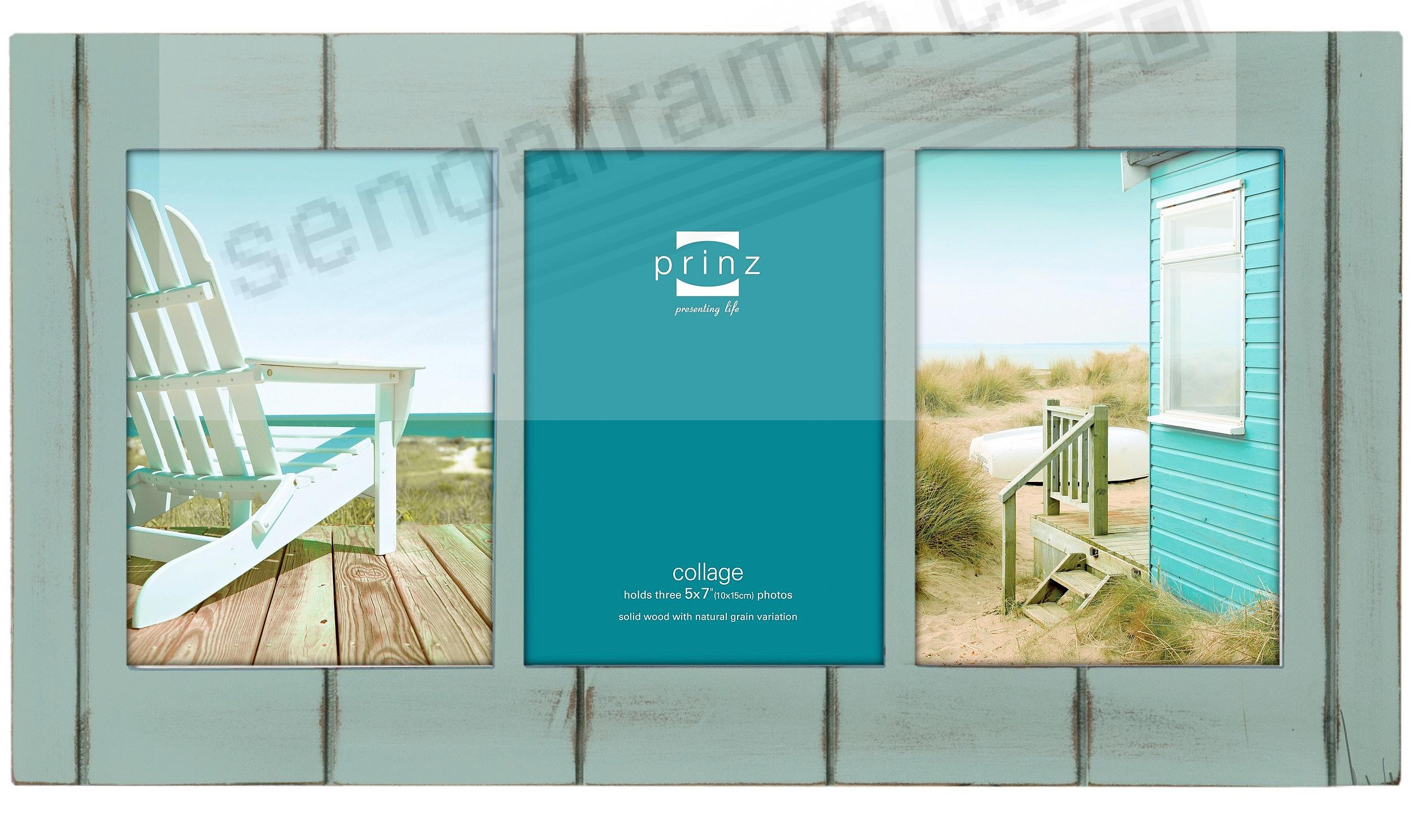 SEASIDE Aquamarine-stain wood 3/5x7 collage frame by Prinz - Picture ...
