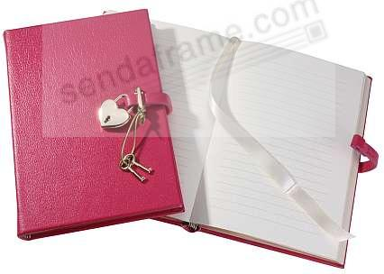 Pink DIARY (Small) with HEART LOCK in Brights Leather by Graphic Image™