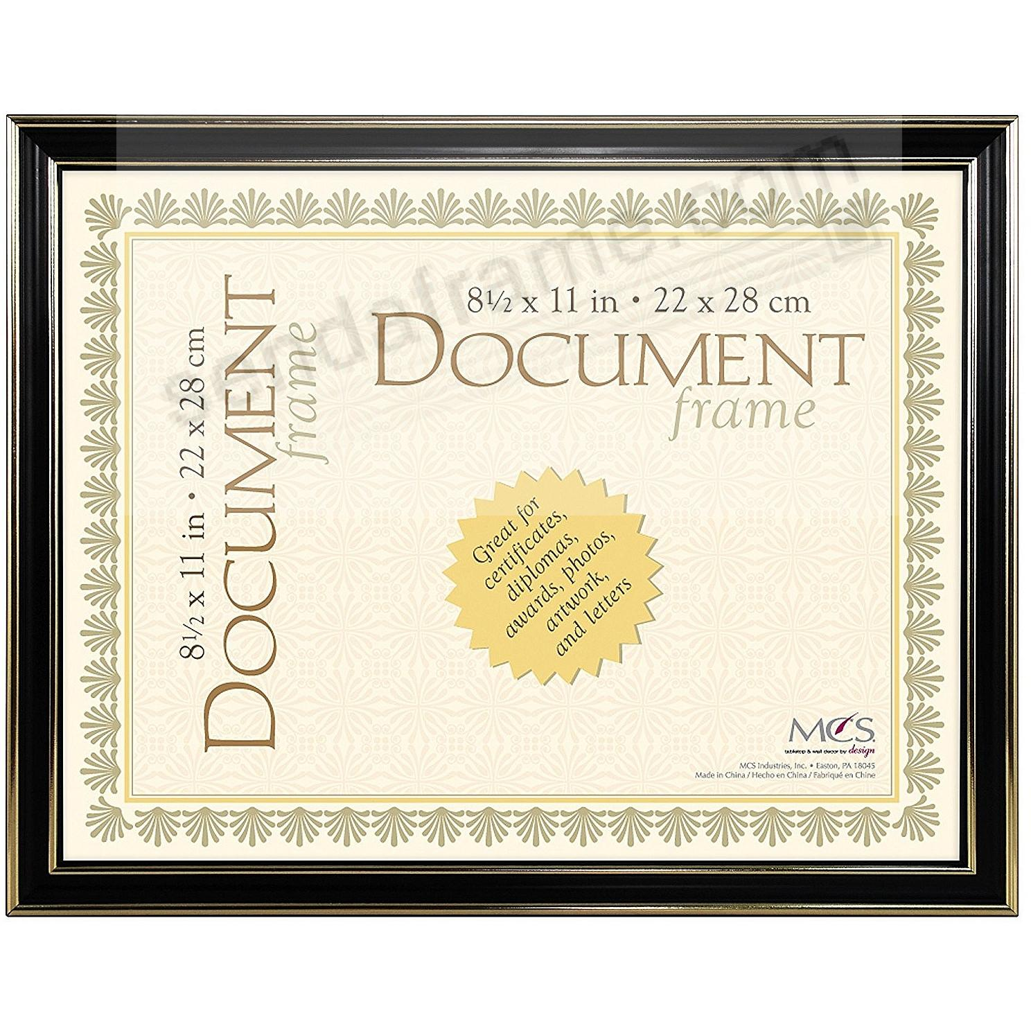 ECONOMY Document Black w/gold accent ABS acrylic frame by MCS®