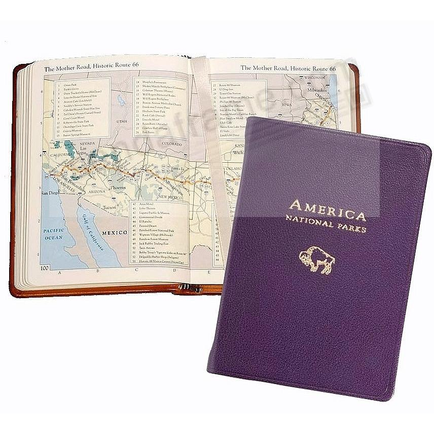 AMERICA NATIONAL PARKS Atlas in Purple Goatskin Leather by Graphic Image™