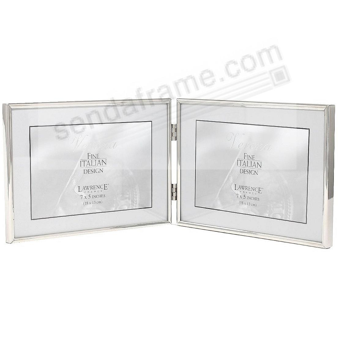Polished SIMPLY SILVER double landscape hinged 7x5 frame by Lawrence®