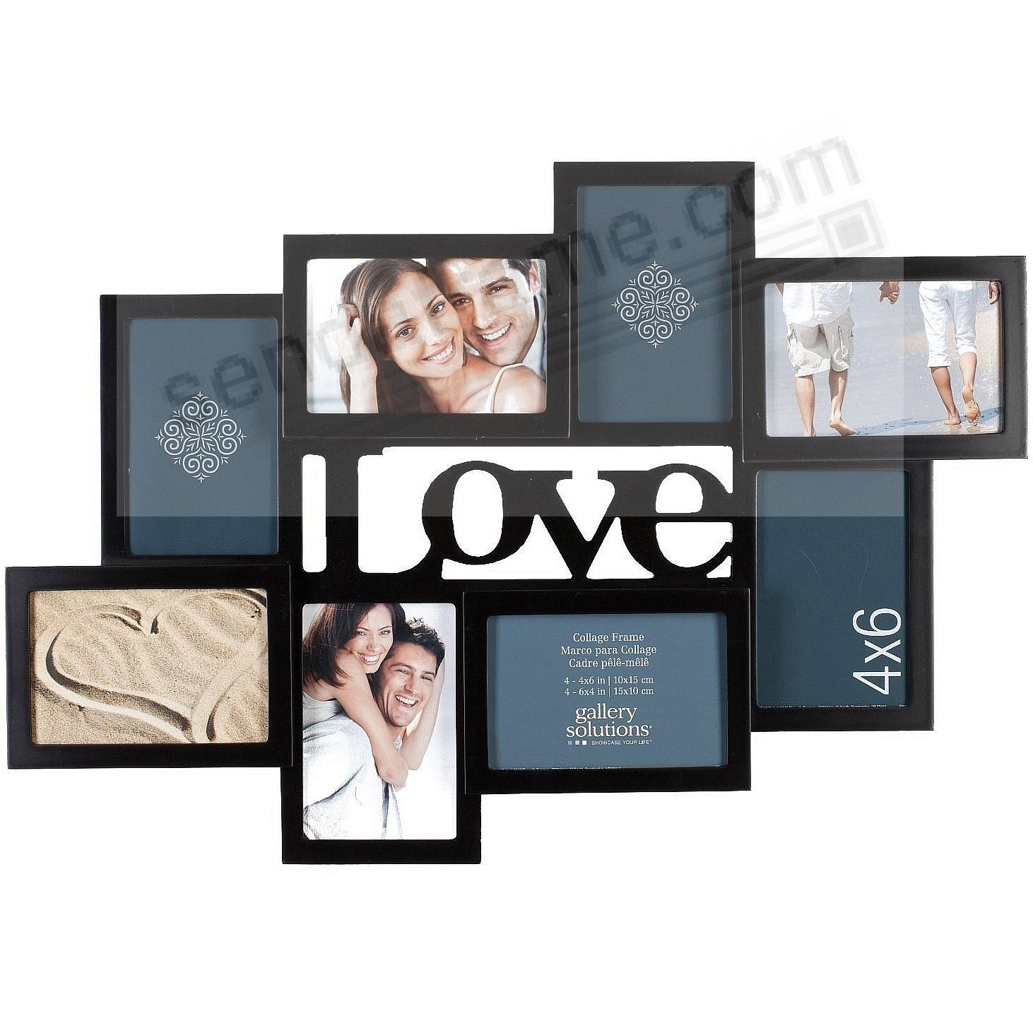 Black 3-D Love Cut-out Collage Frame with 8-Openings by Gallery ...