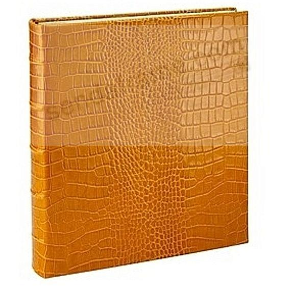 Standard 3-ring Goldenrod Crocodile-pattern Fine Leather album with slip-in pockets by Graphic Image™