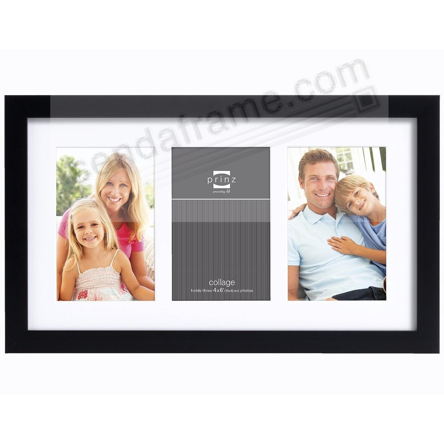 Matted black polystyrene collage frame for 3 - 4x6 prints by Prinz®