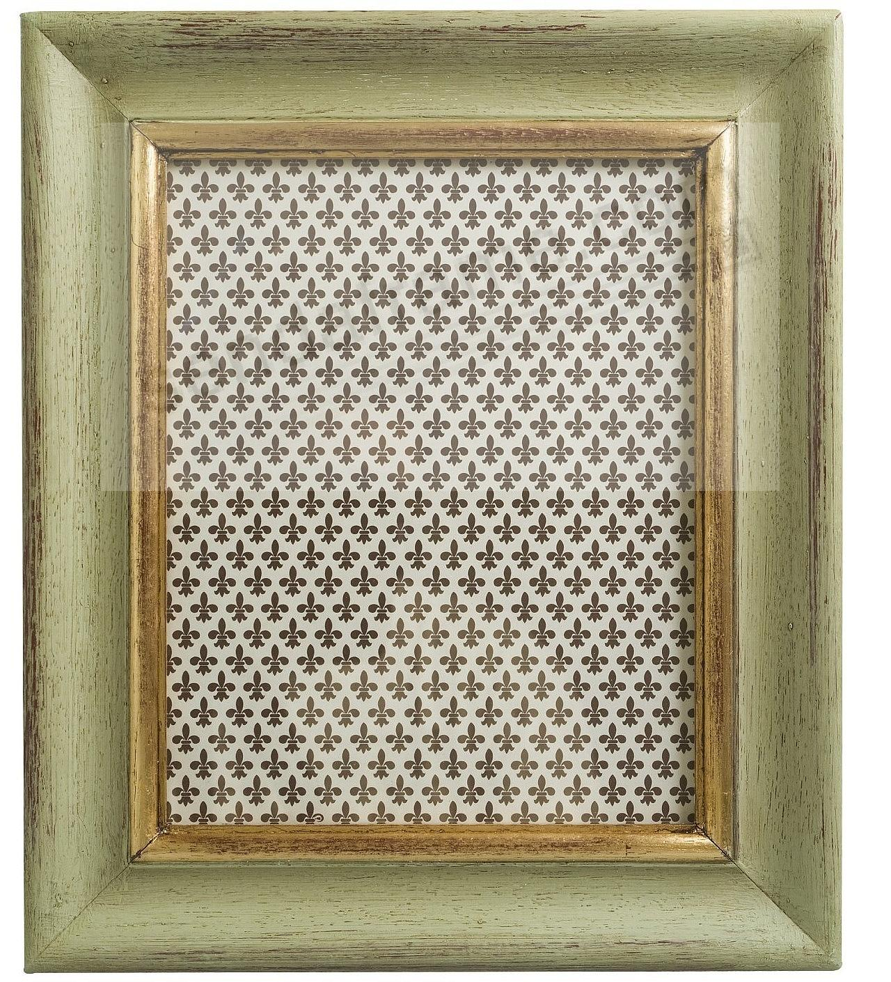 antique sage green and gold carved wood 5x7 frame by eccolo