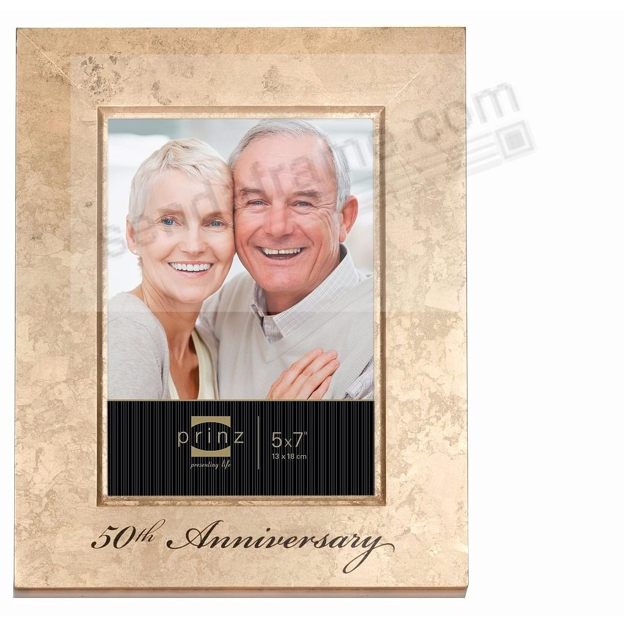 celebrate a 50th anniversary with this special golden wood 5x7 frame by prinz