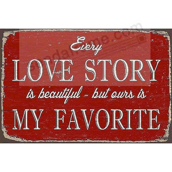 EVERY LOVE STORY ... 12x8 Distressed-Wood Box Sign by Sixtrees®