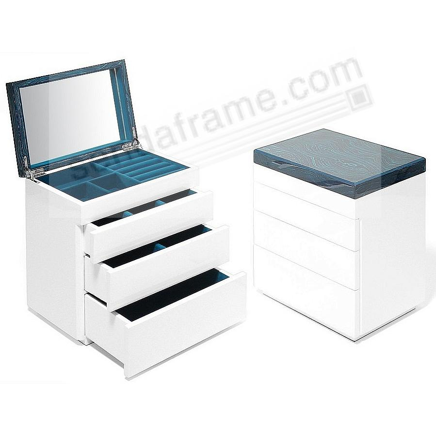 The Original AURA 3-Drawer JEWELRY BOX (Large) Aquamarine Lacquer by Swing Design®