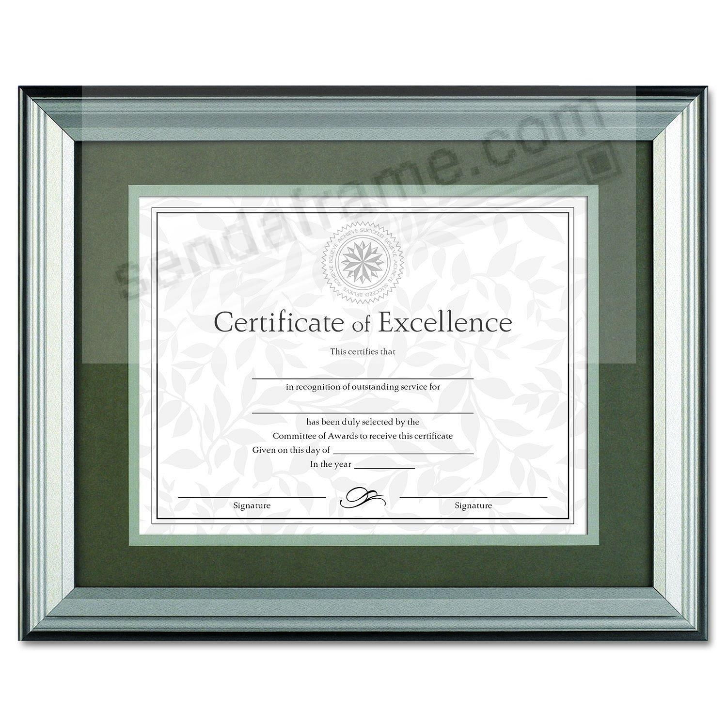 Charcoal nickel document frame 14x11/11x8½ w/mat by Dax®