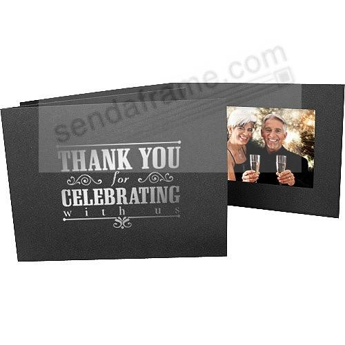 Foil THANK YOU FOR CELEBRATING WITH US<br>Black Cardstock Paper Photomount 6x4 Single Frame