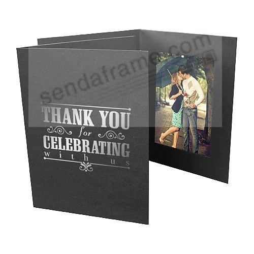 Foil THANK YOU FOR CELEBRATING WITH US<br>Black Cardstock Paper Photomount 4x6 Single Frame