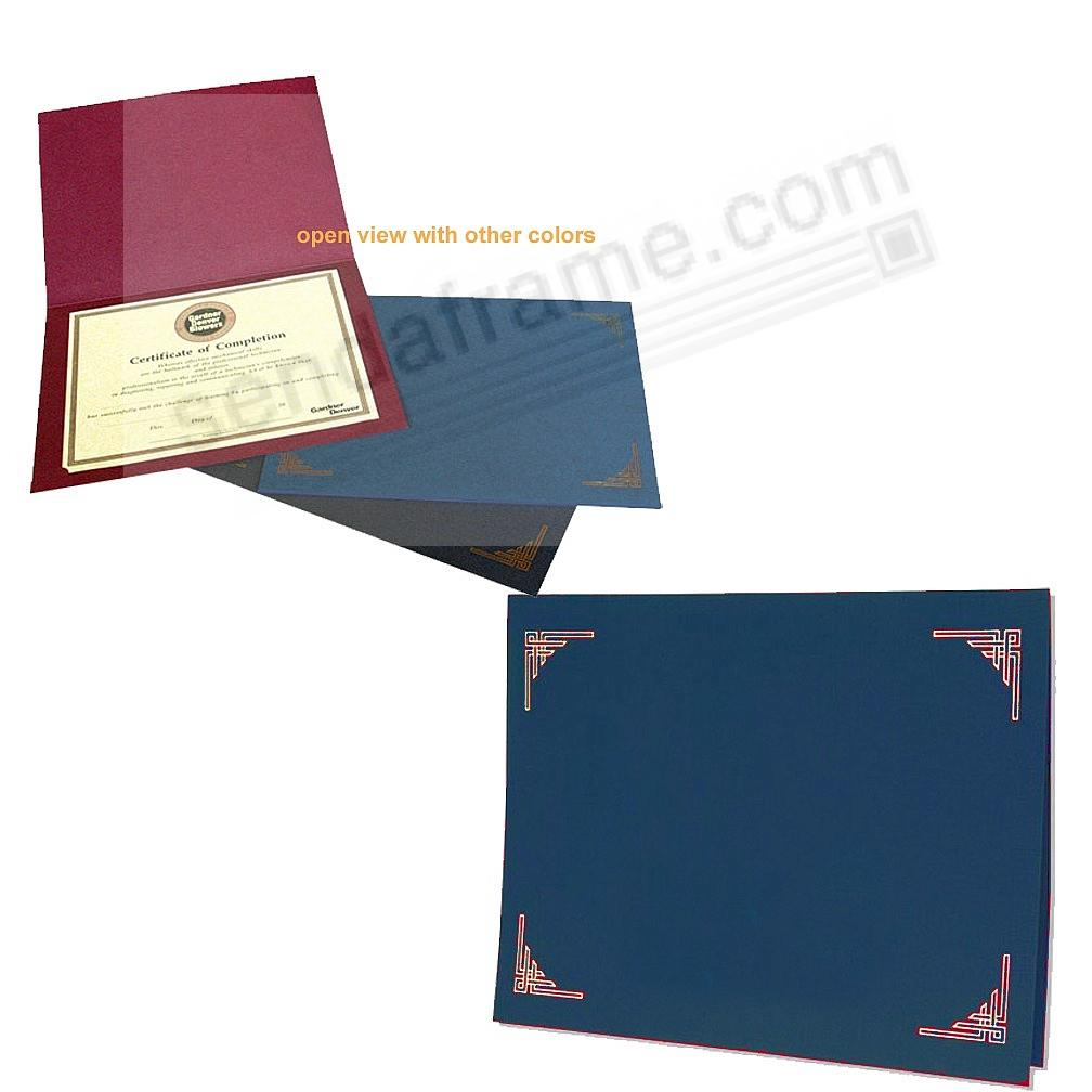 Blue Certificate Folders For 10x8 Or 11x8 Certificates Sold In 25s