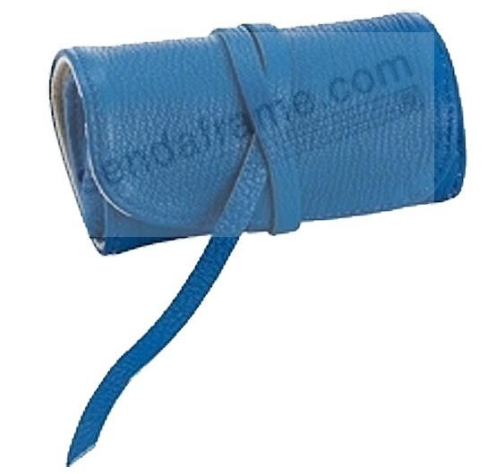BRIGHTS BLUE Fine Leather Jewel Roll by Graphic Image™