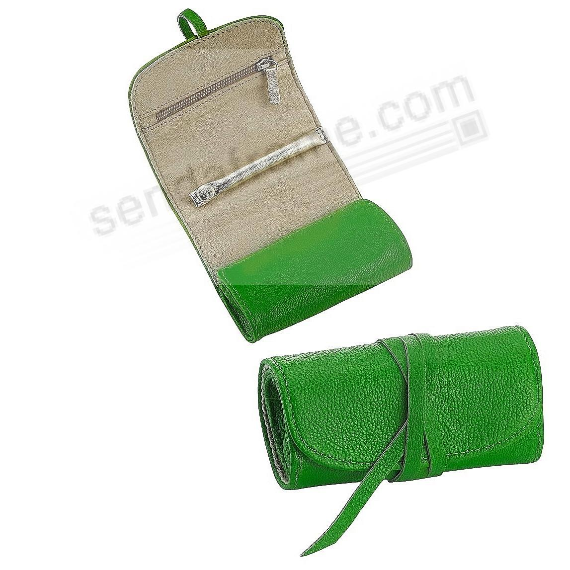 BRIGHTS GREEN Fine Leather Jewel Roll by Graphic Image™
