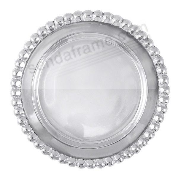 The original BEADED WINE PLATE -Engraveable- by Mariposa®