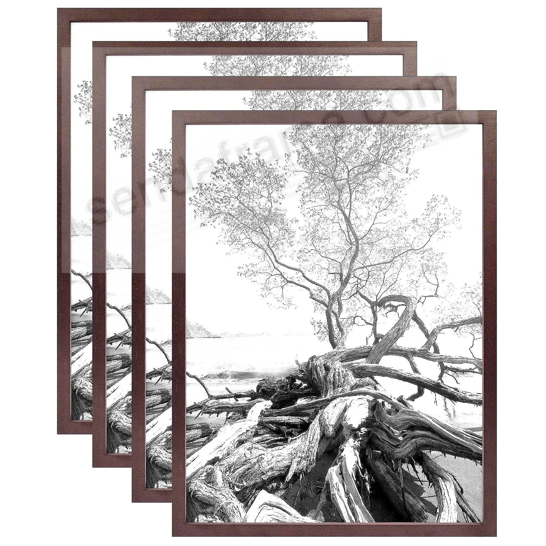 Art Shadow-Box 30x40 Walnut Wood frame by MCS® - 4 Pack