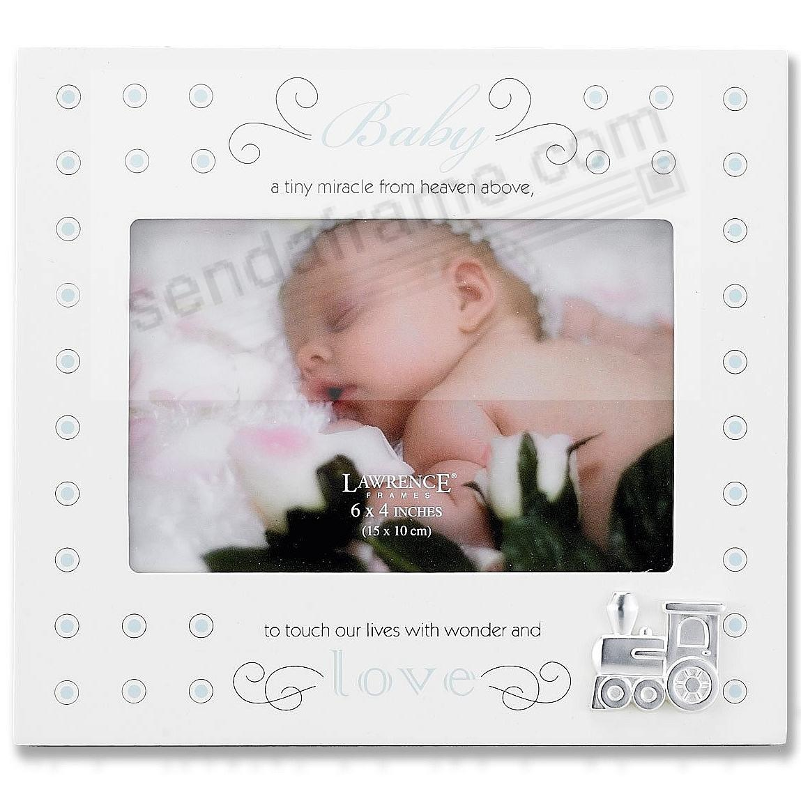 Baby - A Tiny Miracle ... Blue Polka Dot 6x4 frame by Lawrence ...