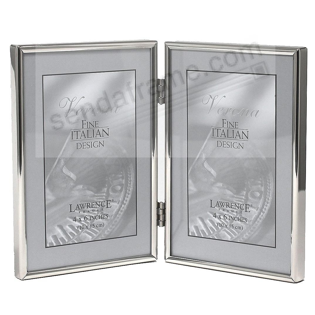 Polished SIMPLY SILVER double hinged 4x6 frame by Lawrence®