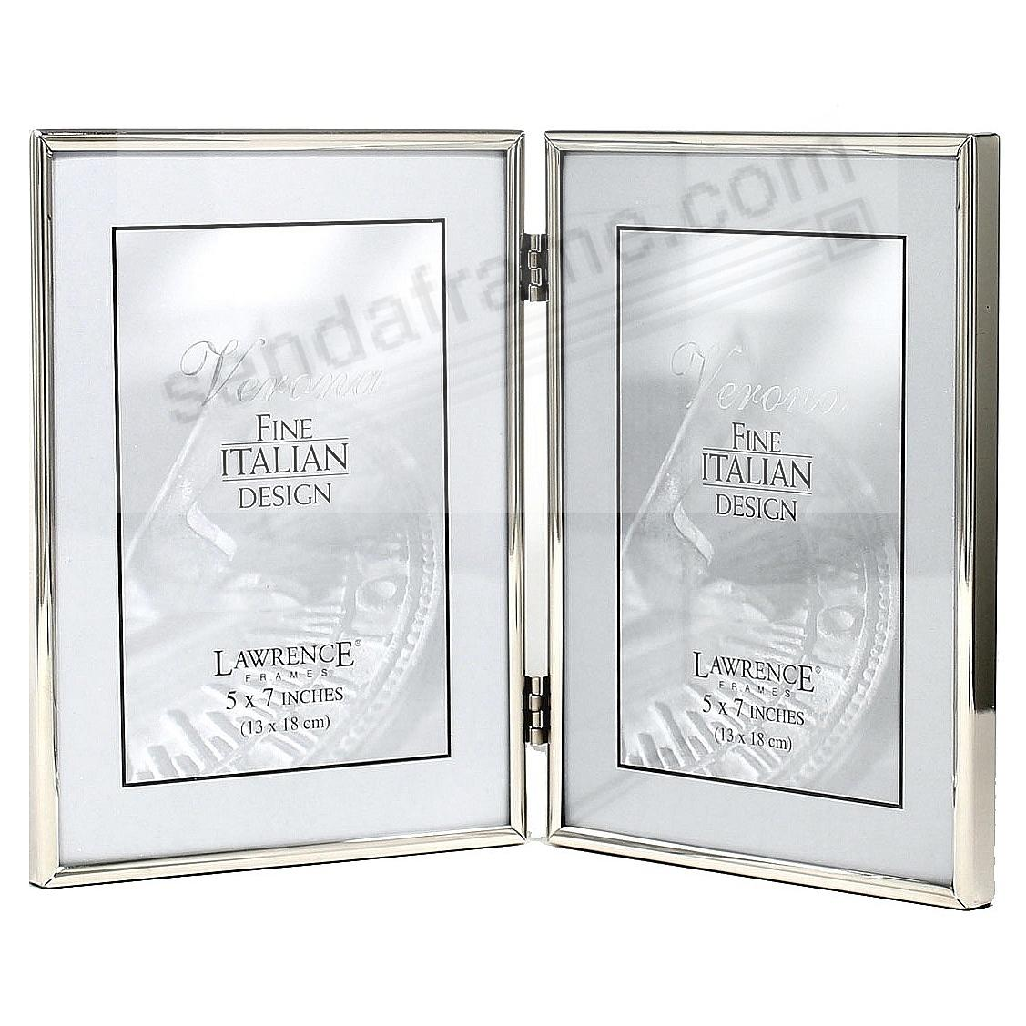 Polished SIMPLY SILVER double hinged 5x7 frame by Lawrence®