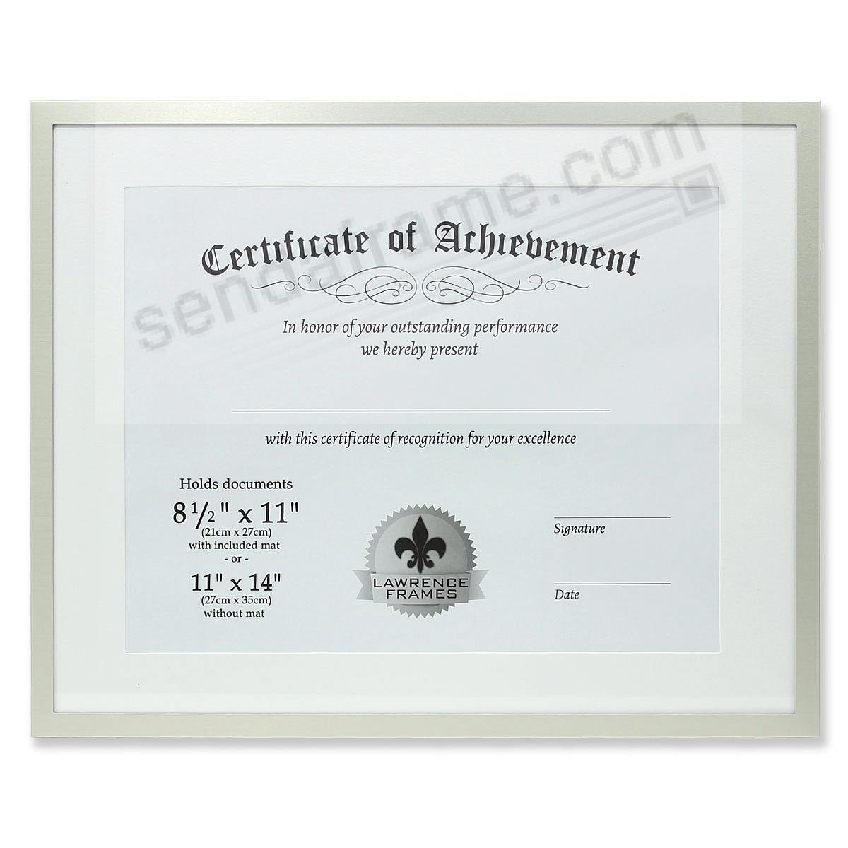 Certificate-size Brushed-Silver Aluminum Dual Use 14x11/11x8½ frame ...