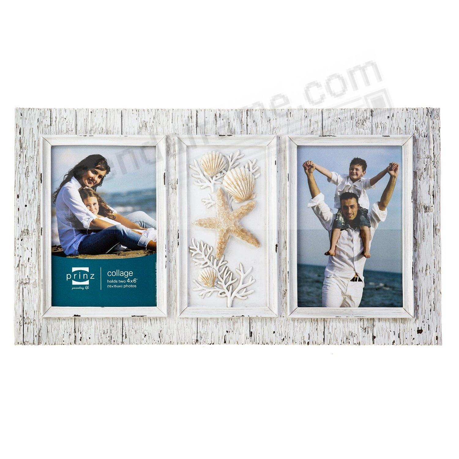 2-opening 4x6 SANDPIPER White Distressed collage frame by Prinz ...