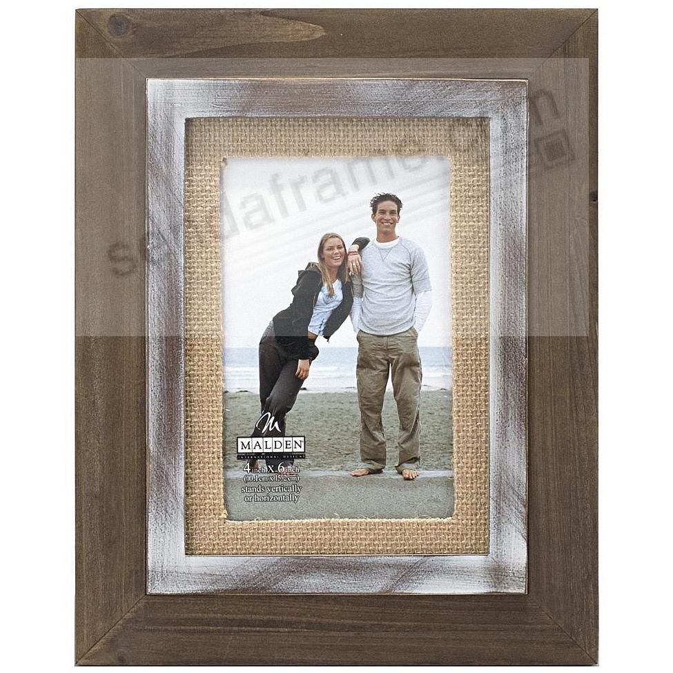 CEDAR WOOD Frame with 4x6 Burlap mat by Malden® - Picture Frames ...
