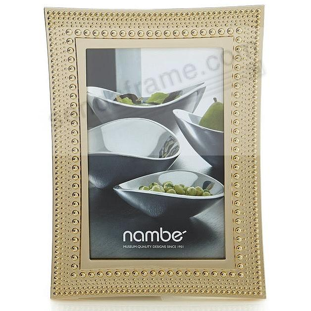 BEADED GOLD modern design 5x7 frame by Nambe'®