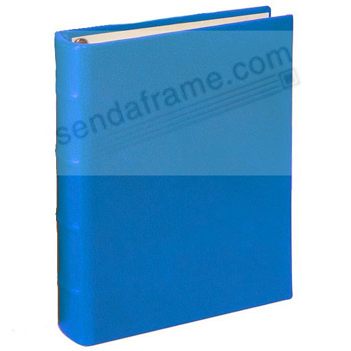 BRIGHTS BLUE 1-Up Clear Pocket Fine-Leather 3-ring Album<br>by Graphic Image&trade;
