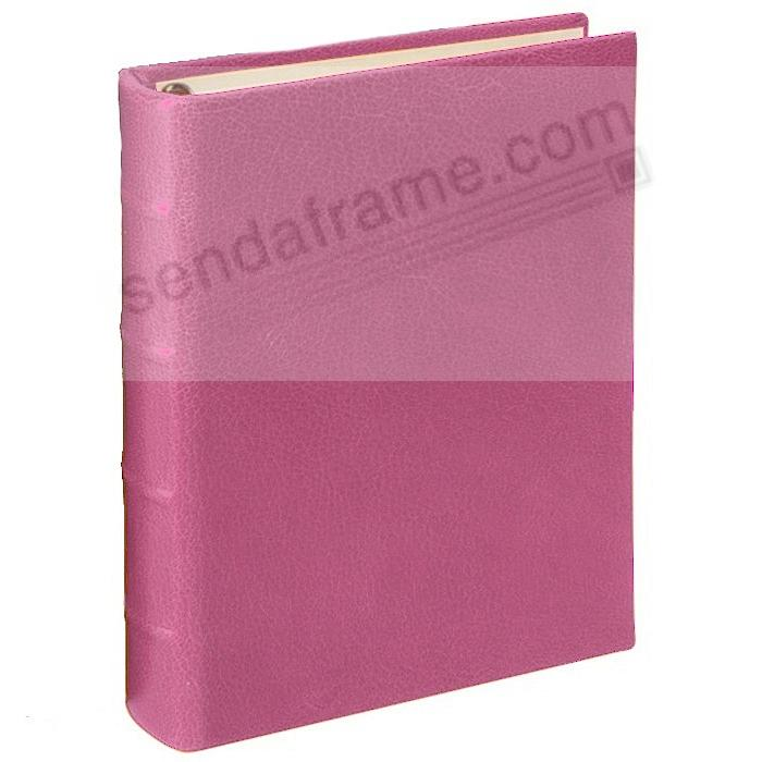 BRIGHTS PINK 1-Up Clear Pocket Fine-Leather 3-ring Album<br>by Graphic Image&trade;