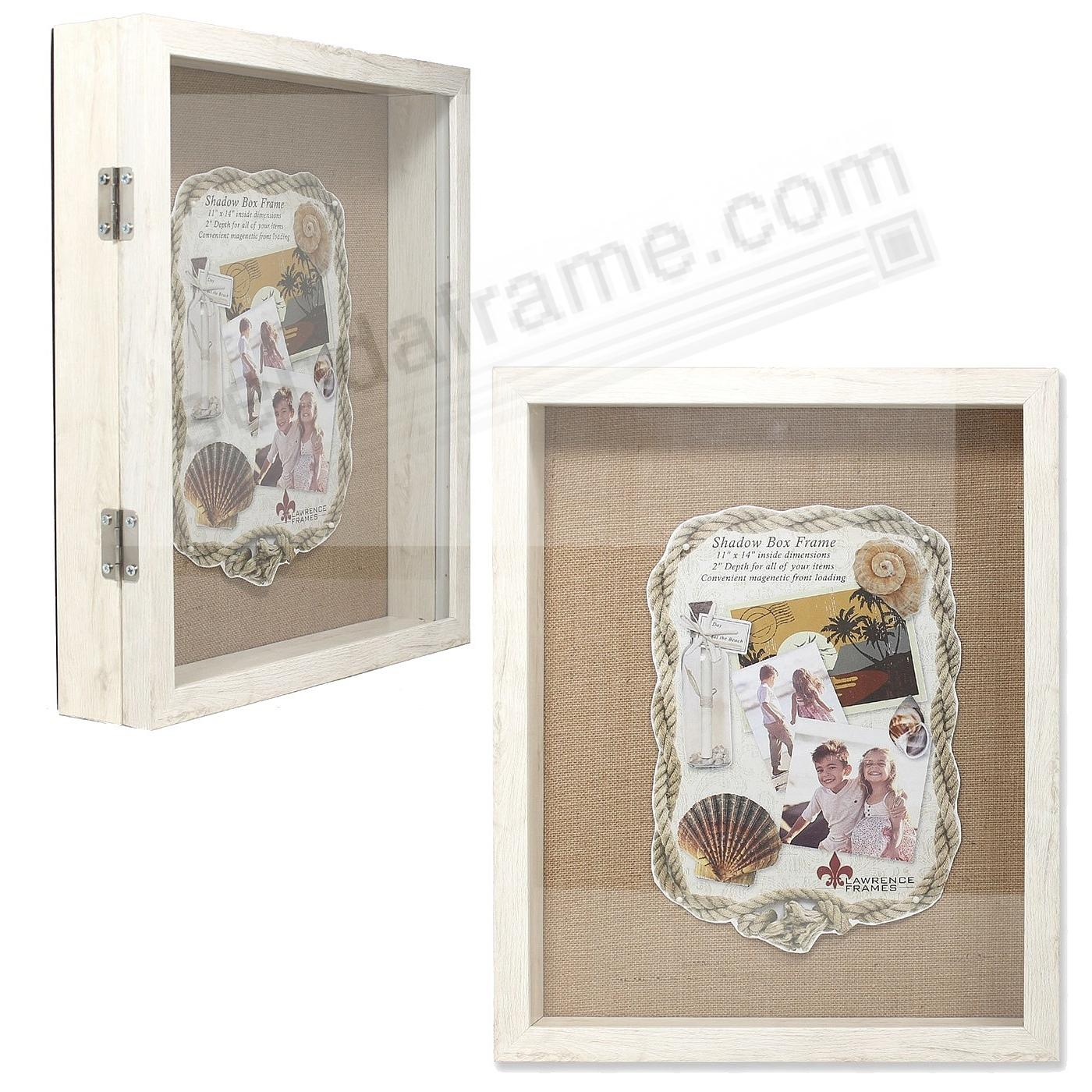 Ivory 11x14 2-in Depth Shadowbox w/magnetic lock front opening by Lawrence®