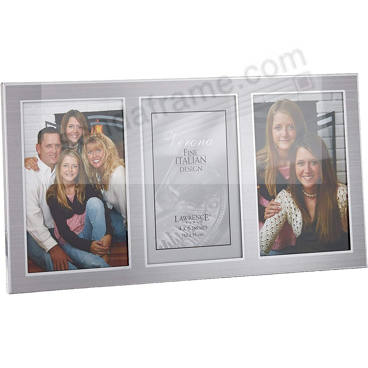 Satin Silverplate Triple 4x6 frame by Lawrence® - Picture Frames ...