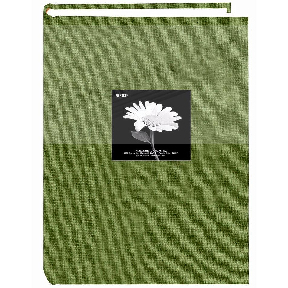 HERBAL GREEN cloth 3-up frame cover 300 pocket photo album by Pioneer®